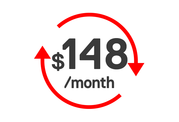 $148 Monthly with Auto Top-up