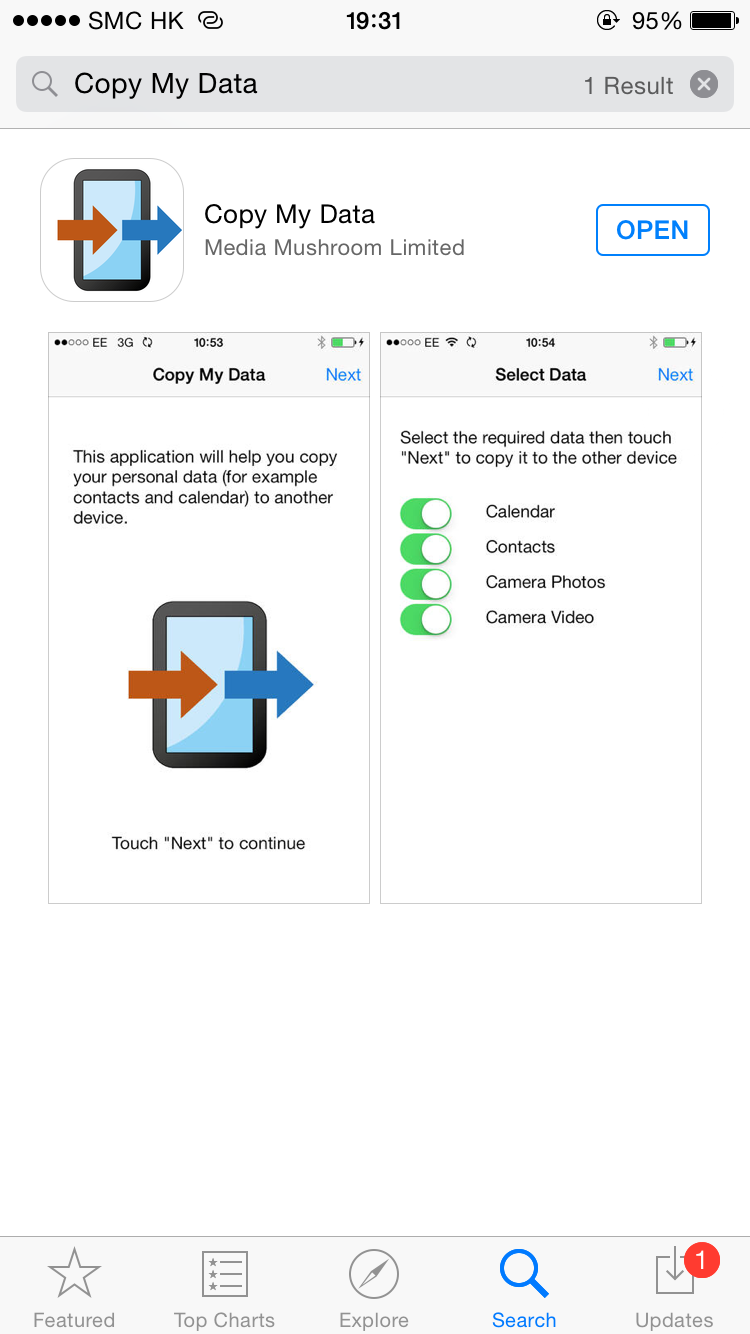 """Visit App Store in your iPhone after activation, search """"Copy My Data"""